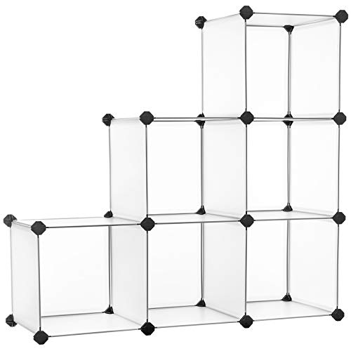 SONGMICS Armario Modular, Plástico Modular, Almacenamiento de 6 Cubos, Zapatero, para Ropa de niños, Juguetes, Mazo, 93 x 31 x 93 cm, Blanco LPC111S
