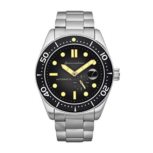 SPINNAKER Men's Croft 43mm Steel Bracelet & Case Sapphire Crystal Automatic Black Dial Watch SP-5058-22