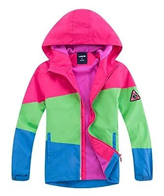 M2C Girls Hooded Fleece Lined Waterproof Jacket Windproof Raincoat 6/7 Color Block Rose