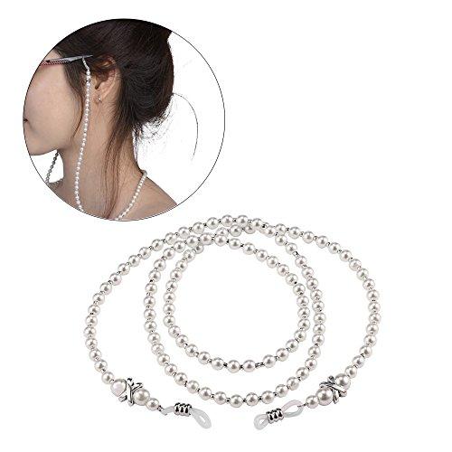 NEU 2 Stück Brillen Kette kleine weiße Perlen Gläser Halskette Strap und Cords Halter für Lesebrillen Perlen Brillen Cords Brillenband Damen DE