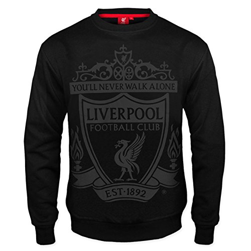 Liverpool FC Official Soccer Gift Mens Crest Sweatshirt Top Black Large