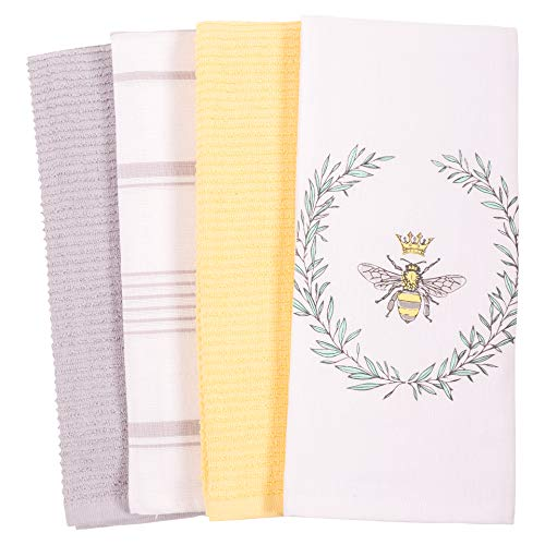 Flat and Terry Printed Dish Towel Set , 100-Percent Cotton, 18 x 28-inch (Bee)