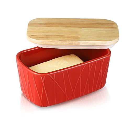Ronnior Luftdichte Butterdose, Porzellan Butterdose mit Holzdeckel, Keramik Butterbehälter, unregelmäßig gestreifte Serie (rot)