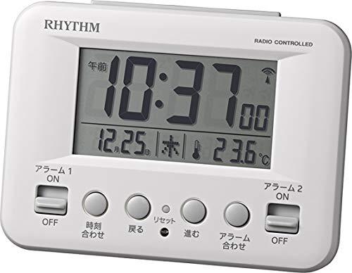 リズム(RHYTHM) 目覚まし時計 電波 デジタル フィットウェーブD191 暗所 自動 点灯 カレンダー 温度計 付き ダブル アラーム 白 RHYTHM 8RZ191SR03