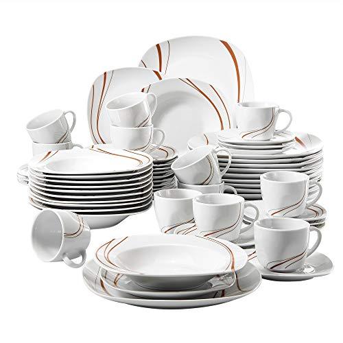 VEWEET, Tafelservice Serie 'Bonnie' aus Porzellan 60-teilig, Kombiservice beinhaltet Kaffeetasse, Untertasse, Dessertteller, Speiseteller und Suppenteller, für 12 Personen