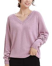 Woolen Bloom セーター レディース Vネック ファッション トップス ニット 冬 ゆったり ラグラン 長袖 秋 無縫製 セーター 薄手 可愛い 無地