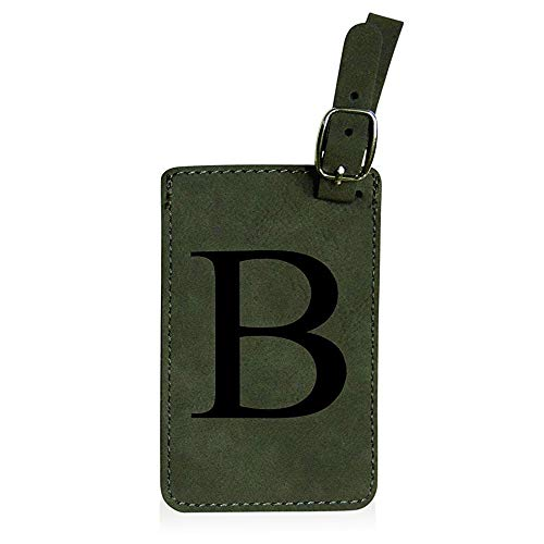 Luggage Tag Initial-Grey Engineered Leather with Individual Letters-Personalized Luggage Tags for Travel (B)