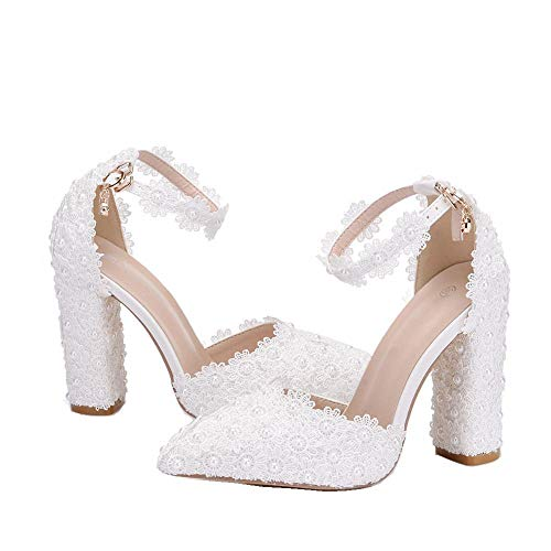 AORISSE Damen Brautschuhe, 10,5 cm Weiße Spitze Blume Hochzeit Schuhe Bankett Ballkleid Pumps High Heels Brautschuhe Damen Sandalen,38EU