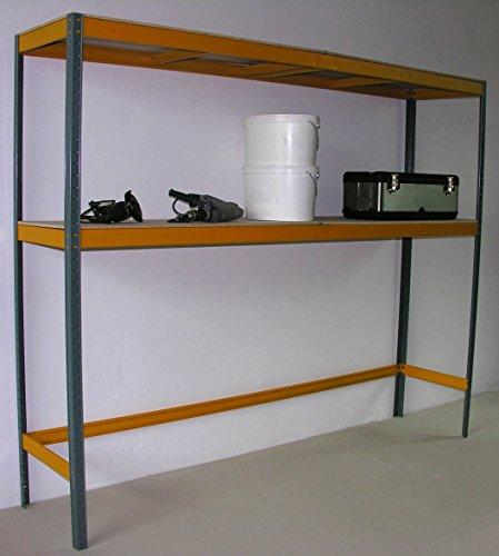 Garagenregal 150 KG, 2 Böden, 180x225x50 cm, grau/gelb (Marke: Szagato) (Regal Steckregal...