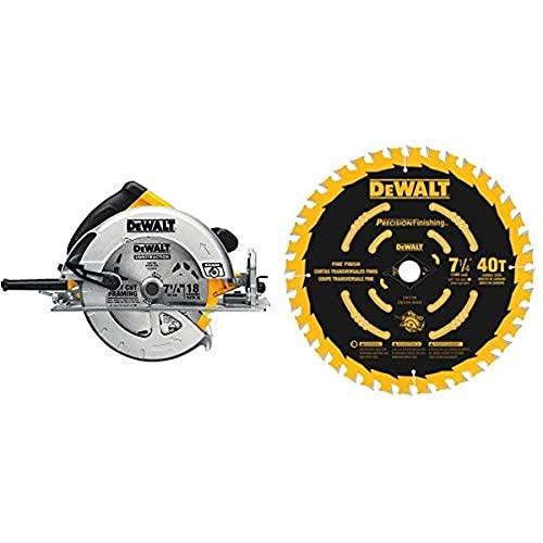 DEWALT DWE575SB 7-1/4-Inch Lightweight Circular Saw with Electric Brake with DW3194 7-1/4-Inch 40T Precision Framing Saw Blade