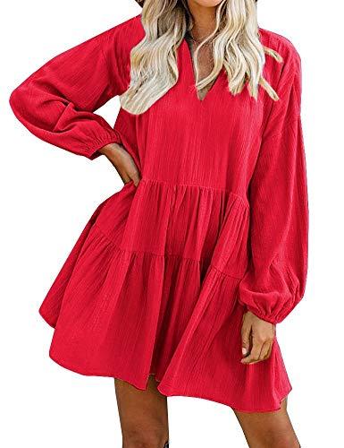 FANCYINN Cute Shift Tunic Dress for Women Long Sleeve Babydoll Split Neckline Juniors Christmas Red Tiered Swing Dresses XL