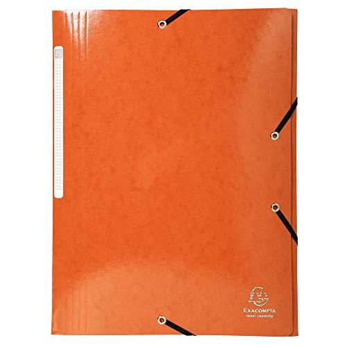 Exacompta 55836E Cartella (Iderama con 3 lembi ed elastico, 425 / mq, A4, capienza maxi, cartoncino Manila), 1 pezzo, arancio