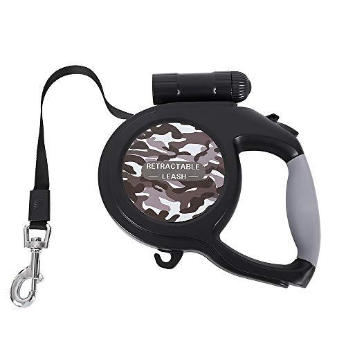 Lovestoryeu Einziehbare Hundeleine, 8 m, mit LED-Taschenlampe für mittelgroße und große Hunde bis zu 50 kg, Ein-Knopf-Bremsverschlusssystem, komfortabler, ergonomischer Handgriff (Camouflage-Grau)
