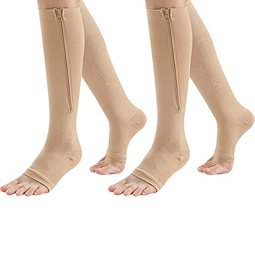 Zipper Compression Socks 2 Pair Zip Guard Skin...