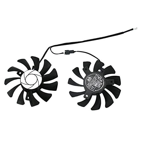 Creely HA8010H12F-Z 75MM 2Pin GTX1050Ti GPU Cooler Ventilador dual para MSI Geforce GTX 1050Ti GTX-1050-Ti-4GT-OC (2 unidades)
