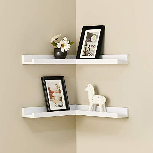 Homemaxs Corner Floating Shelves, Corner Shelf Wall Mounted, Set of 2 Corner Shelves for Wall, Rustic Wood Corner Shelves, Decoration Shelves for Bathroom, Bedroom, Kitchen, Living Room, Rustic Gray