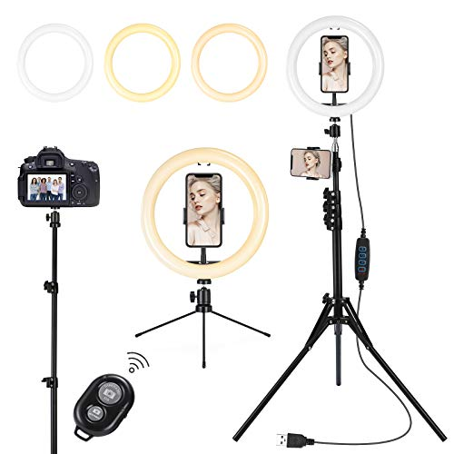 Lomotech Ring Light with Tripod Stand and Phone Holder, 10 INCH Selfie Light with Remoter, Light Ring Perfect for Video Recording, Live Streaming, Makeup, Selfie, Compatible with iPhone Android Phone