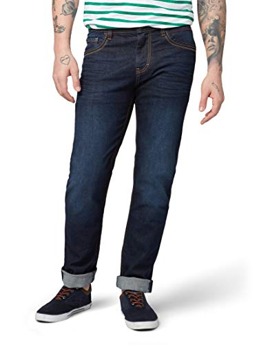 TOM TAILOR Herren Jeanshosen Marvin Straight Jeans Dark Stone wash Denim,34/34