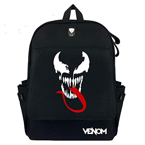 Marvel Movie Venom Mochila Volver Mochila con Estampado de Dibujos Animados College Wind Student School Bag Bolsa de viaje-A30 * 39 * 12 cm