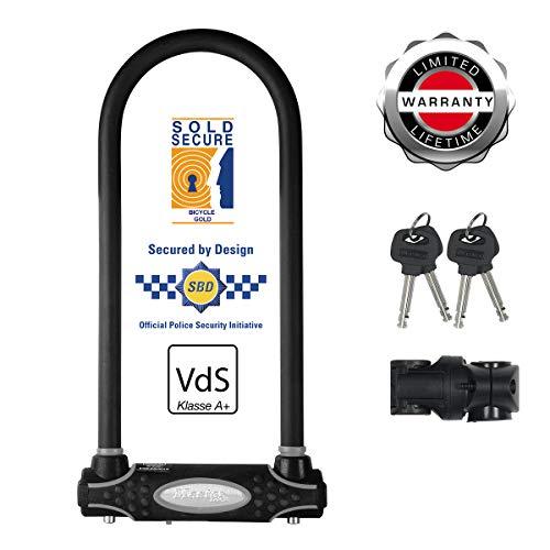 MASTER LOCK Bügelschloss [Schlüsselschloss] [mit Halterung] [Zertifiziertes Fahrrad Schloss - Secure-Gold-Zertifikat] 8195EURDPROLW - Ideal für Fahrräder