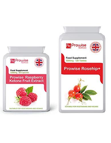 Frambozenvruchtenextract 1200 mg 60 capsules + rozenbottel 5000 mg 120 tabletten - VK-fabricage   GMP-standaarden door Prowise Healthcare