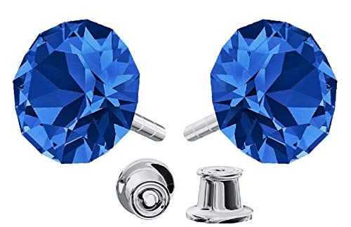 Crystals&Stones Mujer Niños plata de ley 925 plata redondo zafiro Crystal