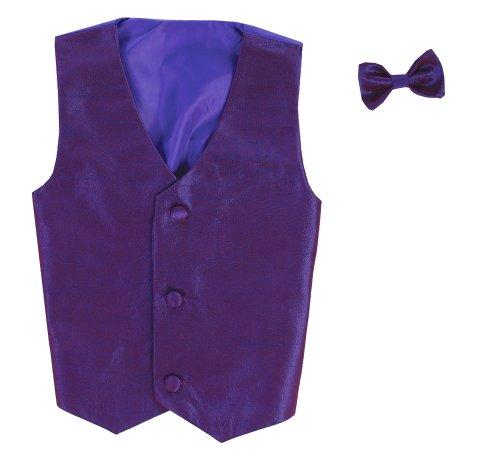 Vest and Clip On Baby Boy Bowtie set - PURPLE - 2T/3T