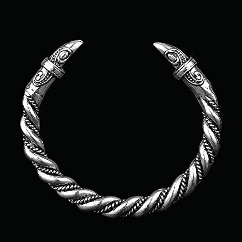 Earthily 2 unids, Hombres De Viking Bangle, Pulsera de cuervo Vikingo, Aemband único, pulsera de acero inoxidable, acero inoxidable para hombre opuesto alambre de cabeza de dragón, brazalete de wkinge