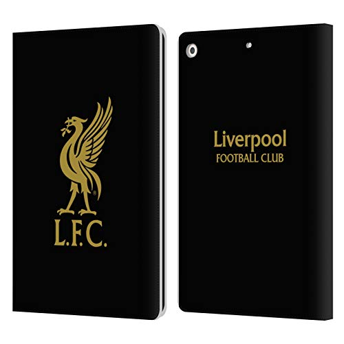 Official Liverpool Football Club Gold Logo On Black Liver Bird PU Leather Book Wallet Case Cover Compatible For Apple iPad 10.2 (2019)/(2020)