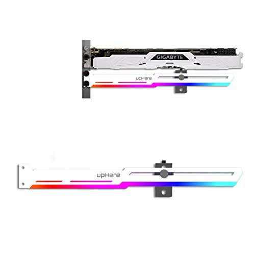 upHere GPU Brace Grafikkarte Weiß ARGB LED für Videokartenunterstützung, verstellbar nach Grafikkarte (G276WTARGB)