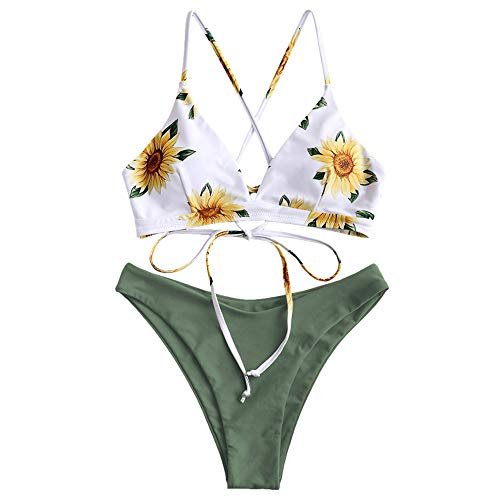 ZAFUL Damen Floral Push-up Zurück Lace-up Bikini Set Badeanzug Beachwear Grün S