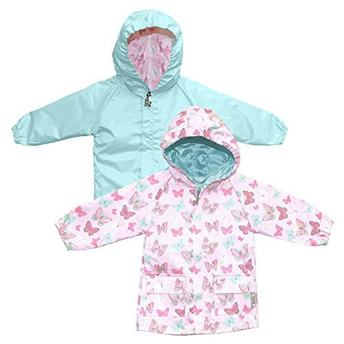 Frenchie Mini Couture Hooded Toddler Raincoat, 100% Polyester Nylon, Reversible Girls Rain Jacket, Pink and Mint Butterfly, 18-24 Mos.