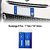 4R Quattroerre.it - Adhesivos para placa de matrícula de coche Italia Europa Provincia Milán con placa rígida