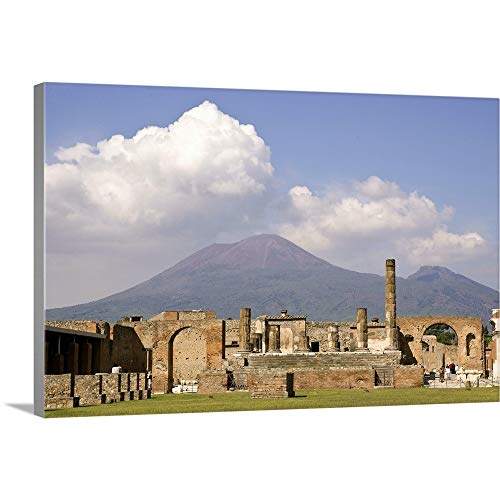 GREATBIGCANVAS Italy, Campania, Pompeii, Temple of Jupiter with Mount Vesuvius in The Background Canvas Wall A.