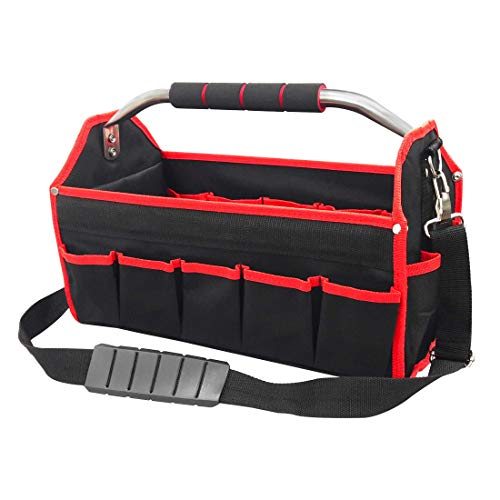 HAUTMEC 16 Pockets Wide Open Electrician Tool Tote Bag, Multi-Purpose...