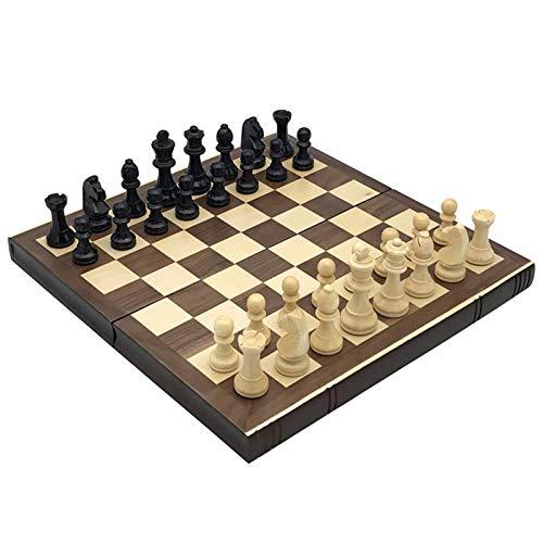 Juego de ajedrez del ajedrez de la Mesa de Madera del Tablero Plegable del Tablero de Madera Conjuntos de Juego de ajedrez Plegable portátil Juego de ajedrez magnético