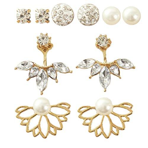 Holibanna 5 Pares de Pendientes de Mujer Pendientes de Perlas de Flor de Loto Pendientes de Diamantes de Imitación de Cristal para Mujeres Regalos de Cumpleaños