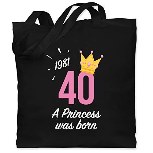 Shirtracer Geburtstagsgeschenk Geburtstag - 40. Geburtstag Mädchen Princess 1981 - Unisize - Schwarz - Statement - WM101 - Stoffbeutel aus Baumwolle Jutebeutel lange Henkel