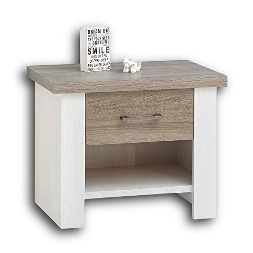 LUCA Eleganter Nachttisch im Landhausstil - Stilvoller Nachtschrank mit Schubladen in Pinie Weiß / Trüffel für Ihr Bett - 60 x 49 x 42 cm (B/H/T)
