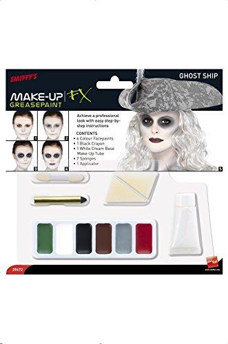 SMIFFYS Smiffy's Kit make up nave fantasma, cerone verde, bianco, marrone, grigio e rosso, matita per Adulti, Nero & bianco, 39672