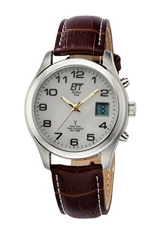 ETT Eco Tech Time Funk Solar Herren Uhr Analog mit digitalem Datum mit Leder Armband EGS-11333-60L