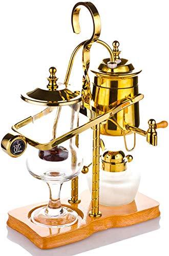 GWQDJ Siphon Kaffeemaschine, Belgische königliche Familienbilanz Siphon-Kaffeemaschine, klassisches und Elegantes Design (5-Tasse) Gold