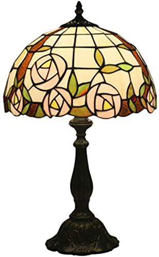 MUZIDP Lámpara de Mesa de Tiffany, Rosa Rosa de Cristal, luz, luz de Escritorio de Sombra de Sombra para Sala de Estar, Dormitorio, Cama, Regalo de artesanías