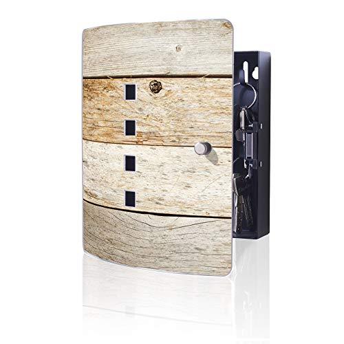 banjado Design Schlüsselkasten aus Edelstahl | 10 Haken für Schlüssel | praktischer Magnetverschluss | 24x21,5cm Motiv Graues Holz