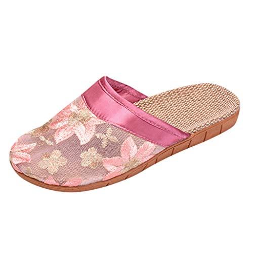AOJIAN Women Slippers Bowknot Sandals Flax Linen Flip Flops Flat Beach Shoes (Pinkg, 9.5/10.5)