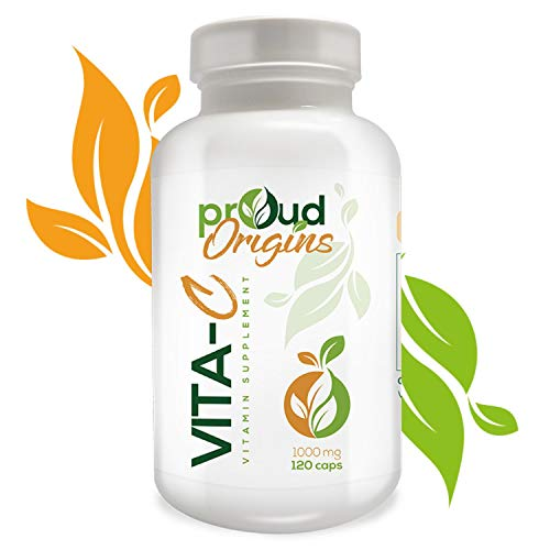 Proud Origins VITA-C 1000mg – Vitamin C for Antioxidant & Immune Support, Promote Iron Absorption, Overall Health, Healthy Skin &Joints, 120 Capsules