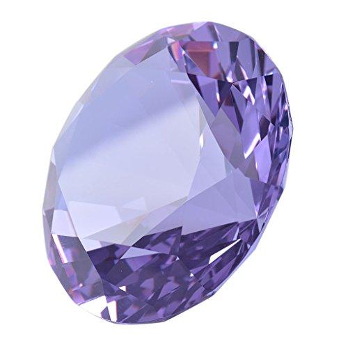 多色透明 水晶 ダイヤモンド 100mm ペーパーウェイト ガラス 家の装飾 文鎮 装飾品 誕生日 母の日 結婚記念日 プレゼント 妻 【ギフトボックス】 (紫色)