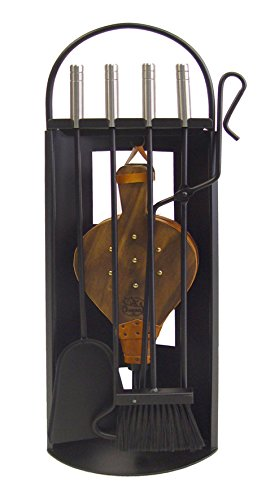 Imex El Zorro 10027 Serviteur de cheminée en inox avec accessoires et soufflet 68 x 23 x 14 cm Noir