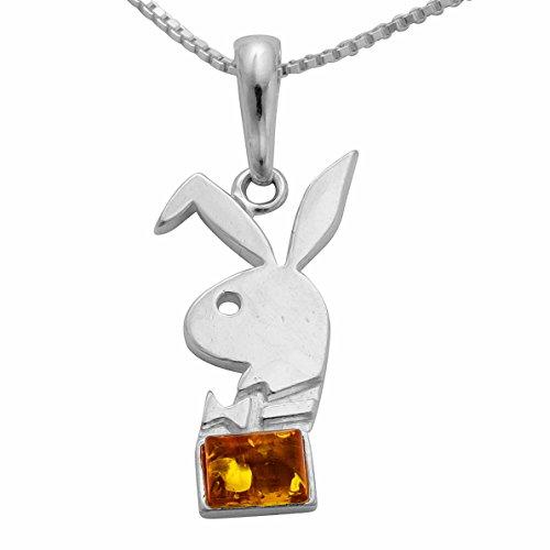 925 Silber Kettenanhänger Bunny-Anhänger Bernstein Häschen Hase Hasenkopf #1743