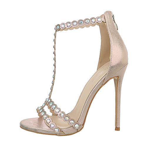 Ital-Design Damenschuhe Sandalen & Sandaletten High Heel Sandaletten Synthetik Gold Gr. 40